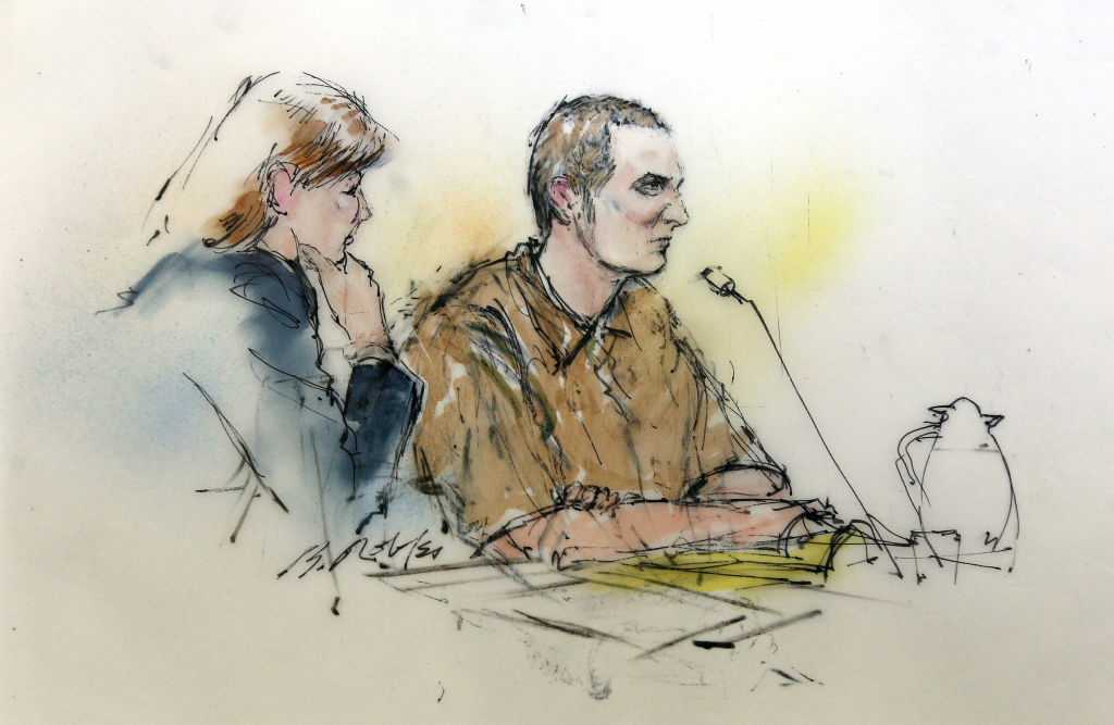 Attorney Judy Clark, left, and defendant Jared Loughner sit before the judge in federal court Tuesday, Aug. 7, 2012 in Tucson, Ariz. as shown in this artists' rendering. Suspected shooter Jared Loughner, who is charged with shooting U.S. Rep. Gabrielle Giffords, D-Ariz., and 18 others, entering a plea deal that keeps Loughner in prison for the rest of his life, in Tucscon, Ariz.