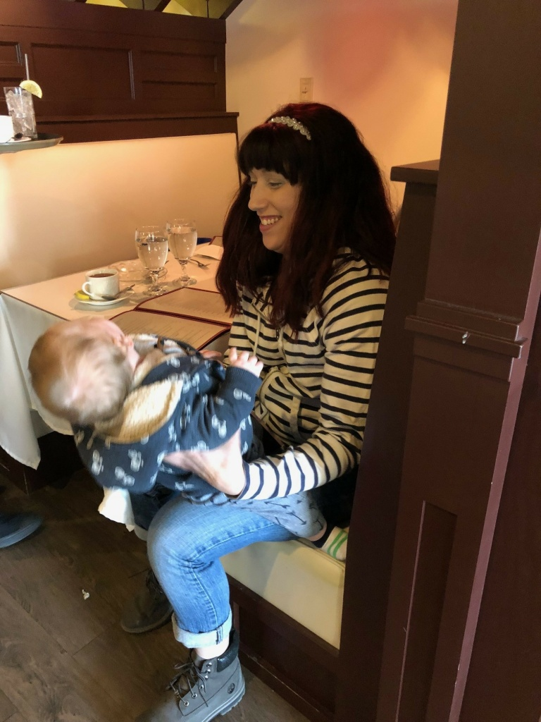 Jillian Broomstein plays with her son.