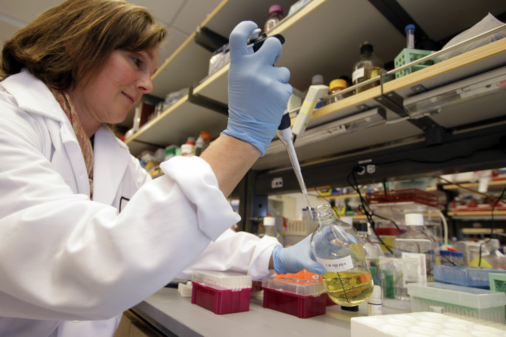 This March 16, 2012 photo shows a researcher working in a stem cell research lab. California's stem cell agency has awarded two private biotech companies, ViaCyte Inc. and Bluebird Bio, nearly $20 million toward the development of treatments for diabetes and for a sometimes fatal genetic blood disorder.
