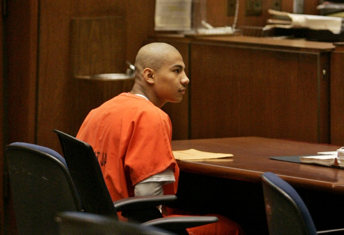 Pedro Espinoza, an illegal immigrant and alleged gang member, appears in court 2008, where he pleaded not guilty to having shot Jamiel Shaw, Jr., a Los Angeles high school football star.
