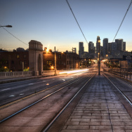 downtown train tracks light rail dtla los angeles skyline