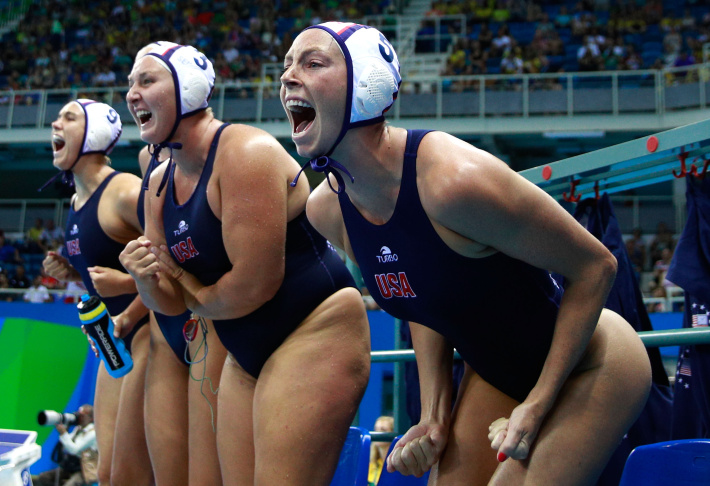 United States players cheer in the Women's Water Polo Gold Medal match between the United States and Italy on Day 14 of the Rio 2016 Olympic Games.