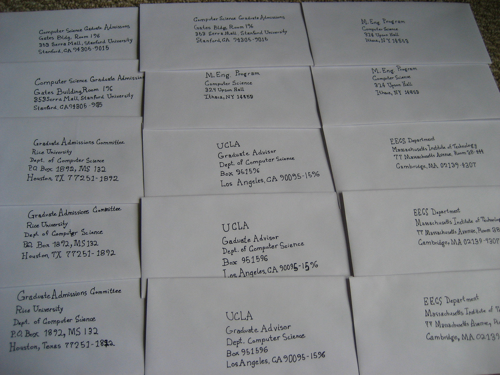 A group of recommendation letters ready to be mailed.