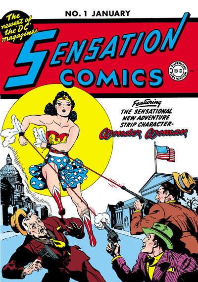 Wonder Woman on the cover of Sensation Comics #1 in 1942. In the early years, every issue of Wonder Woman had a four-page centerfold featuring a biography of a real-life woman of achievement, including Susan B. Anthony and Sojourner Truth.