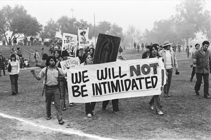 Students and community members lead protest in La Marcha Por La Justicia, Belvedere Park, 1971.