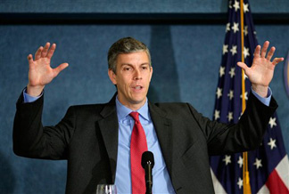 Education Secretary Arne Duncan talks about education reform during a speech at the National Press Club in Washington, Friday, May 29, 2009. Duncan said this is a time of educational crisis, as well as economic crisis, and that we will have to educate our way to a better economy.