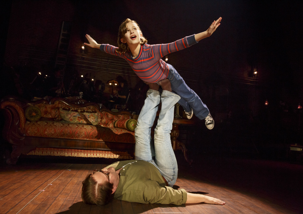 """Alessandra Baldacchino as young Alison and Robert Petkoff as her father in the national tour of """"Fun Home."""""""
