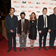"TORONTO, ON - SEPTEMBER 15:  (L-R) Composer Carter Burwell, Director Charlie Kaufman, Actress Jennifer Jason Leigh;  Directors Duke Johnson, Actor David Thewlis and Actor Tom Noonan attend the ""Anomalisa"" photo call during the 2015 Toronto International Film Festival at the Princess of Wales Theatre on September 15, 2015 in Toronto, Canada."