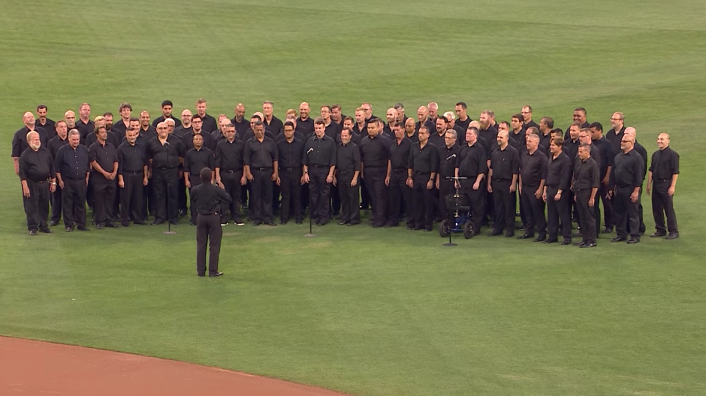 San Diego Gay Men's Chorus sings the national anthem at a Padres game on Sept. 1, 2015.