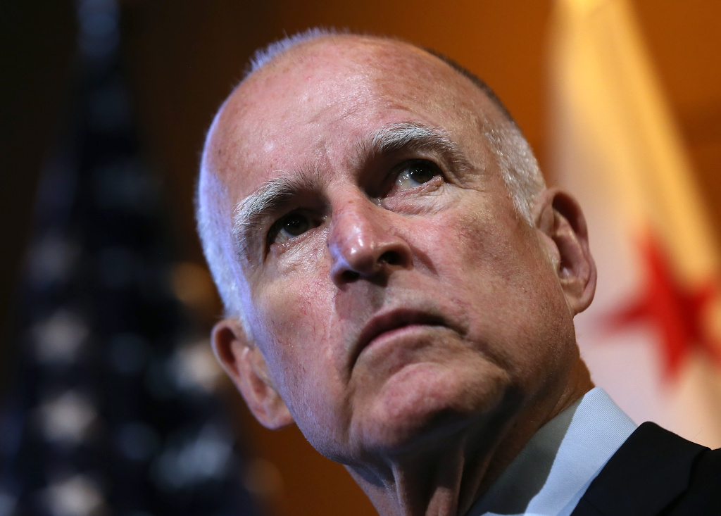 California Gov. Jerry Brown looks on during a news conference at Google headquarters on September 25, 2012 in Mountain View, California.