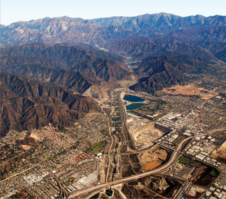 An aerial photograph of the San Gabriel Mountains in Southern California.