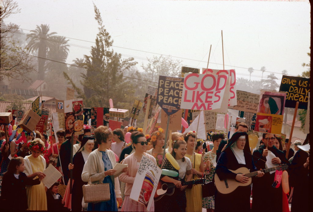 The Vatican's crackdown on American nuns echoes a 1960s battle in L.A. between the Cardinal and Immaculate Heart nuns. Here the nuns are, protesting at a Mary's Day procession.