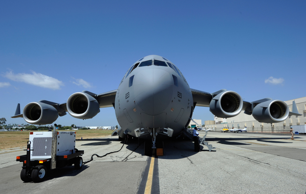 A C-17 Globemaster III airlifter built for the United Arab Emirates Air Force and Air Defence is prepared for takeoff from Long Beach Airport on May 10, 2011.