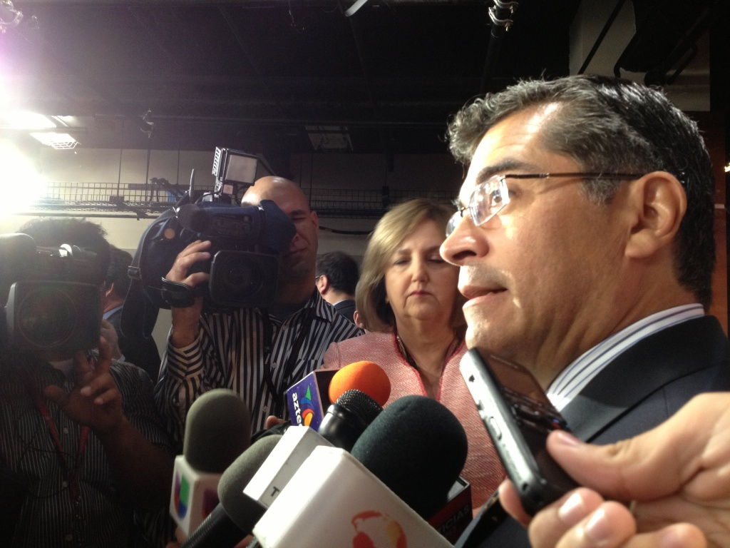 Gang of Eight member Xavier Becerra (D-Los Angeles) answers reporters' questions after unveiling the Democrats' immigration bill.