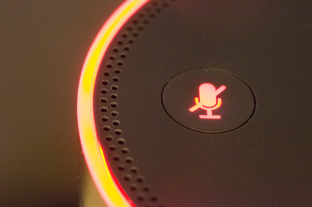The mute button on the Amazon Echo.