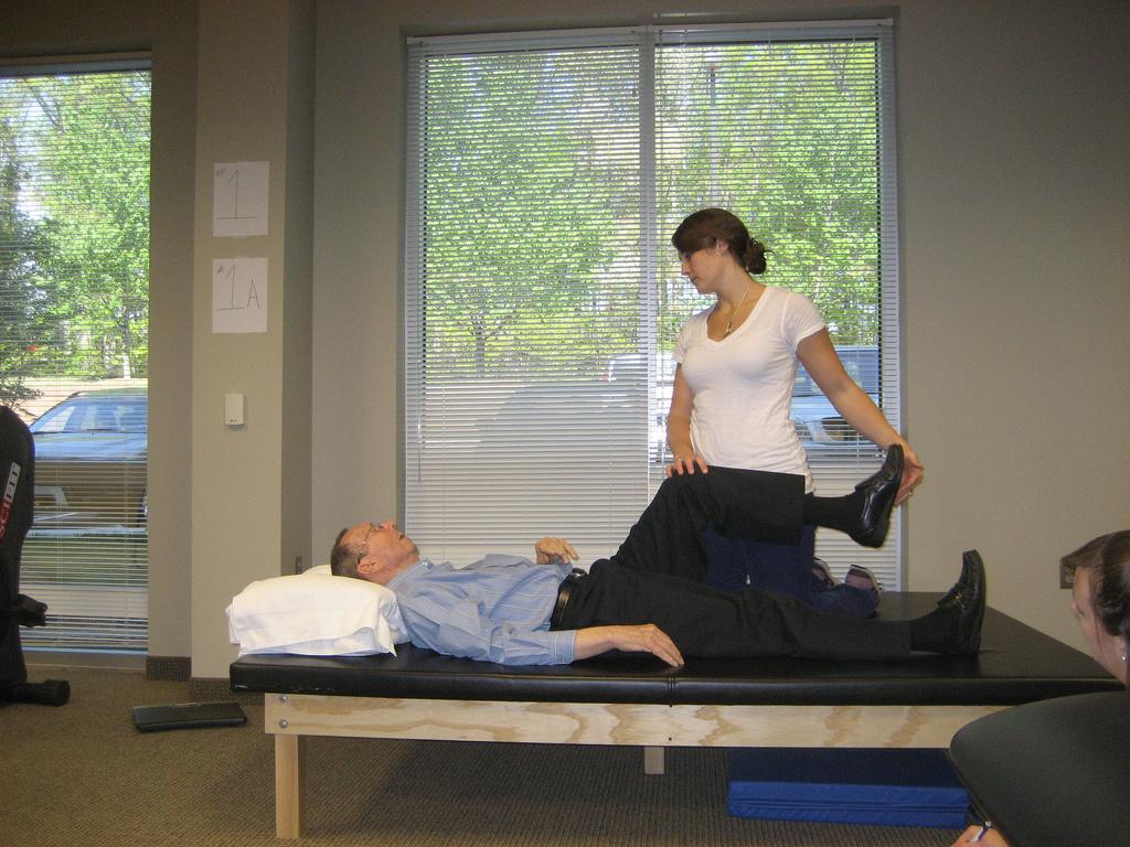 Flexibility testing at a Parkinson's clinic.