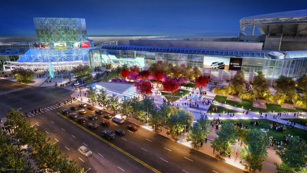 AEG's rendering of what the Los Angeles Convention Center would have looked liked next to Farmers Field.