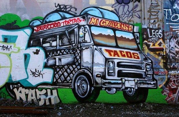 The taco truck as mural art, April 2006