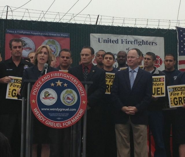 Controller Wendy Greuel says that as mayor, she will increase the size of the LAPD to 12,000 officers and LAFD to 4,000 firefighters and paramedics.