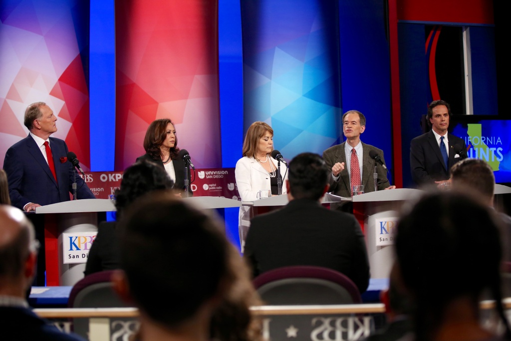 From left, Duf Sundheim, Kamala Harris, Loretta Sanchez, Ron Unz, and Tom Del Beccaro at a debate at KPBS in San Diego, May 10, 2016.