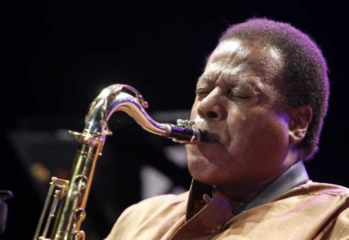 US musician Wayne Shorter performs on th