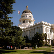 The California state Capitol building is in downtown Sacramento, California.