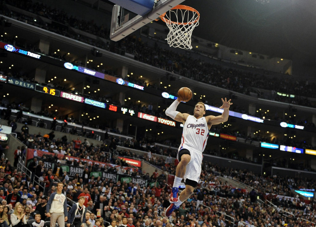 Former Clipper Blake Griffin dunking during a 107-102 win over the Los Angeles Lakers in  2013 (Photo by Harry How/Getty Images) *** Local Caption *** Blake Griffin