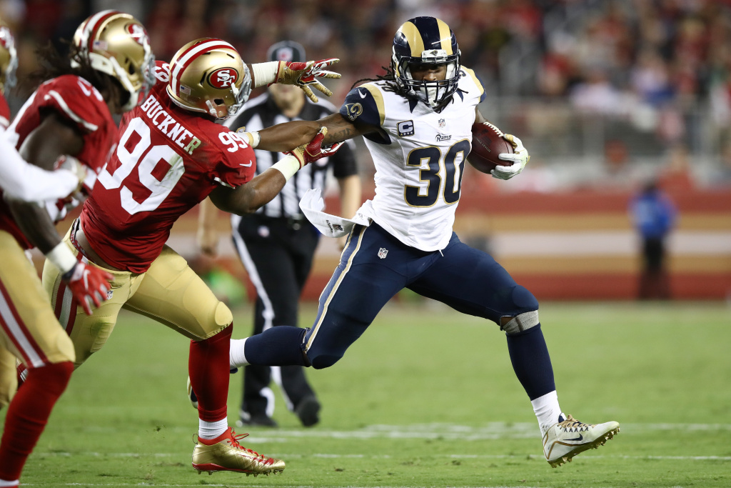 SANTA CLARA, CA - SEPTEMBER 12:  Todd Gurley #30 of the Los Angeles Rams rushes against the San Francisco 49ers during their NFL game at Levi's Stadium on September 12, 2016 in Santa Clara, California.  (Photo by Ezra Shaw/Getty Images)