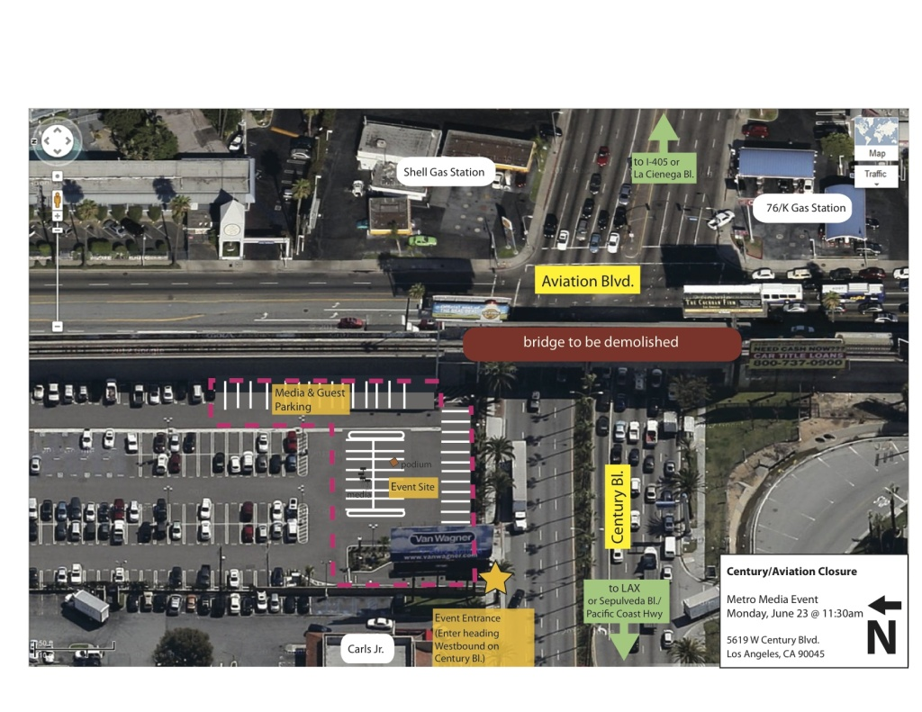 "Map of the impacted area of Century/Aviation intersection for ""Century Crunch"" demolition project."