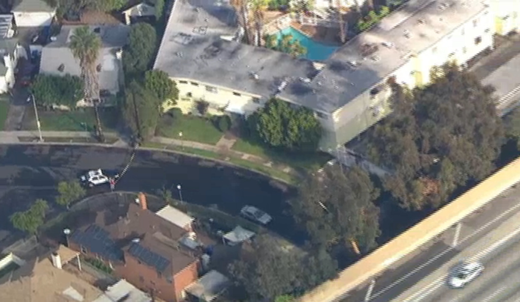 An aerial shot of the location of a shooting in West LA this morning