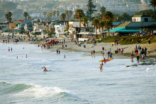 People enjoying California beach