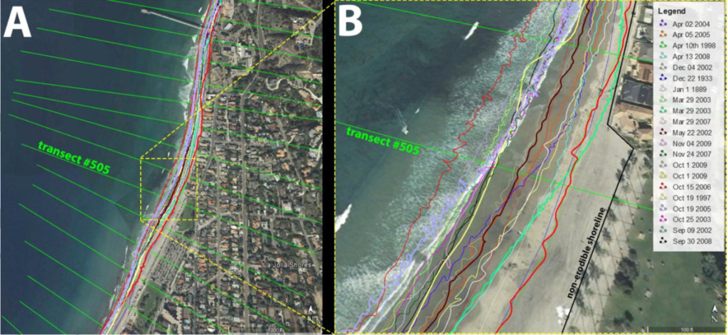 An example of the shoreline data for La Jolla Shores in San Diego County, used in the CoSMoS COAST model. The many squiggly colored lines indicate the changing location of the shoreline through time.