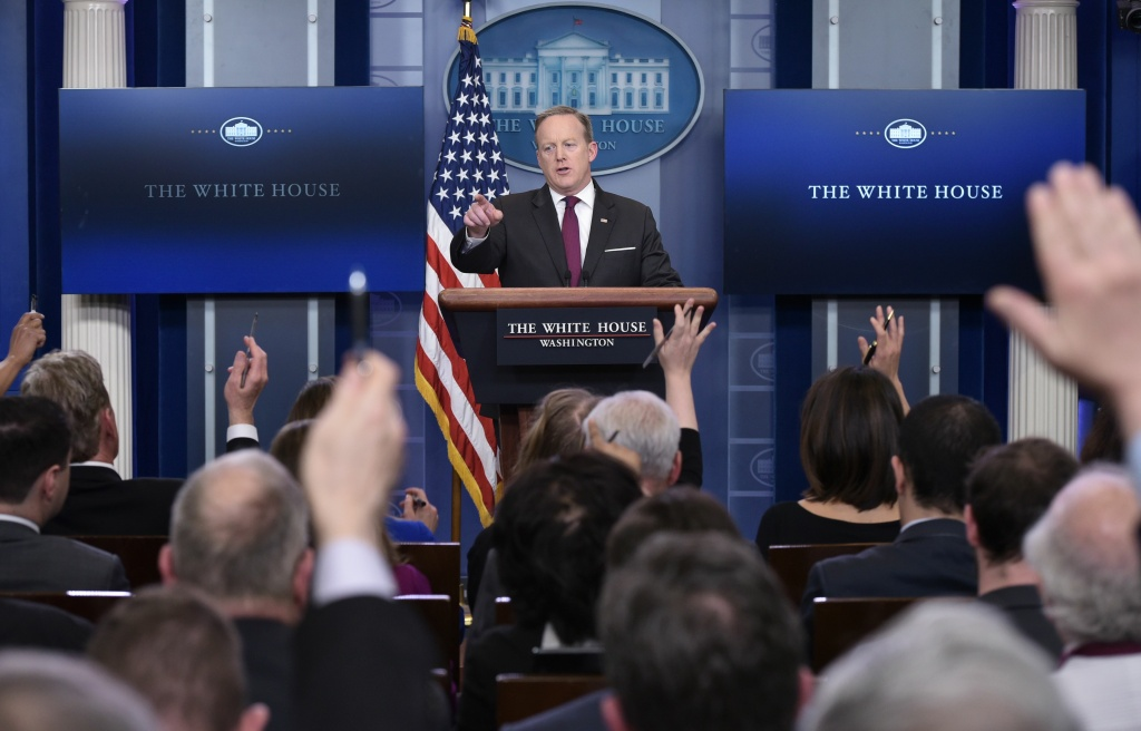 White House Press Secretary Sean Spicer speaks during the daily briefing in the Brady Briefing Room of the White House on February 23, 2017.