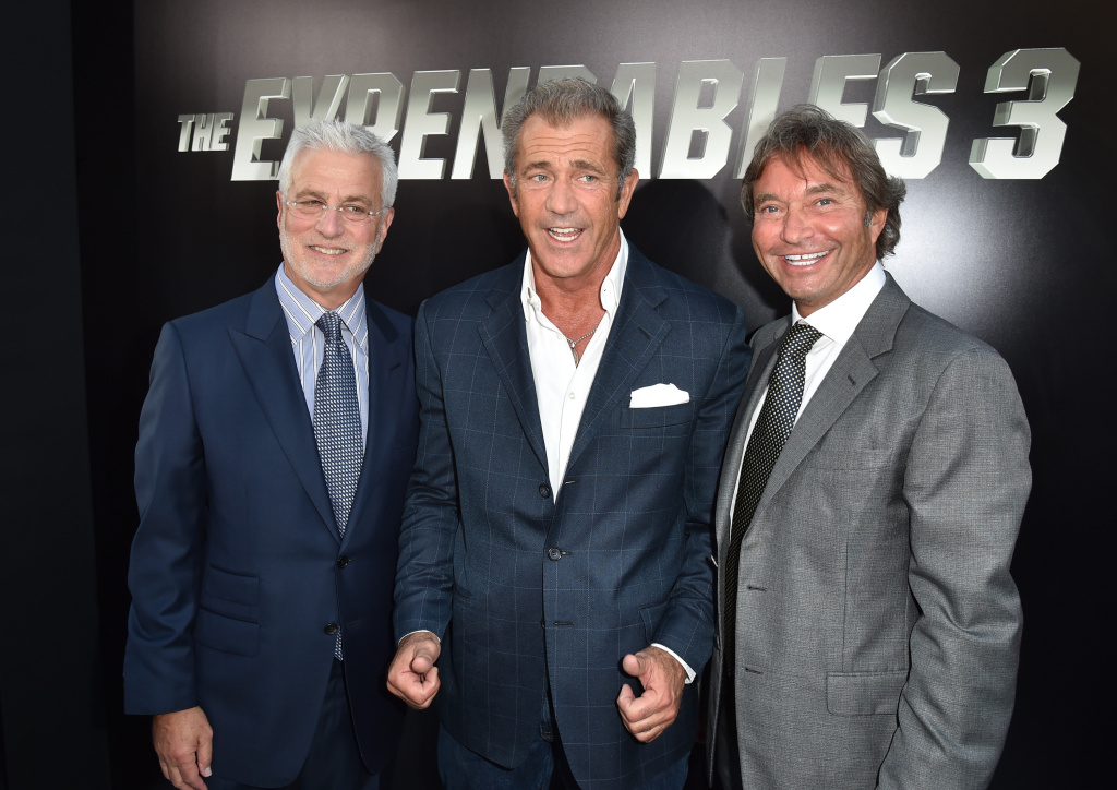 Co-Chairman of Lionsgate Motion Picture Group Rob Friedman, actor Mel Gibson and Co-Chairman of Lionsgate Motion Picture Group Patrick Wachsberger attend the premiere of Lionsgate Films'
