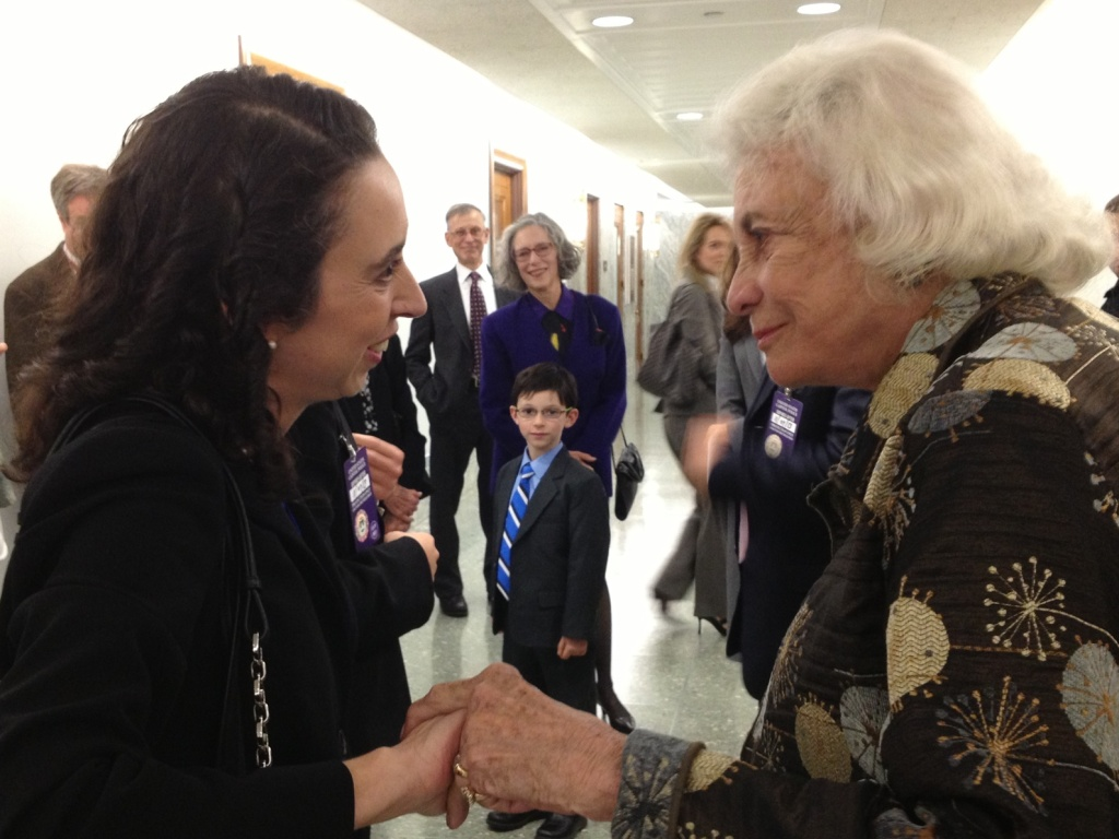 Former Supreme Court Justice Sandra Day O'Connor congratulates California attorney Michelle Friedland on her smooth confirmation hearing.