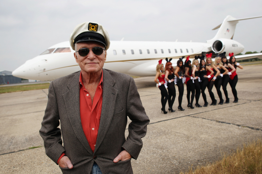 Playboy founder Hugh Hefner arrives at Stansted Airport on June 2, 2011 in Stansted, England.