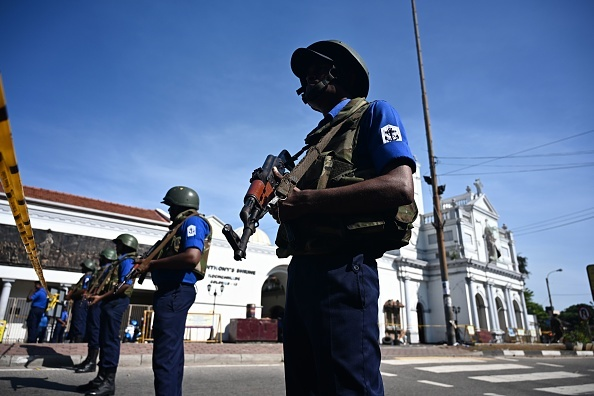 Security personnel stand guard outside St. Anthony's Shrine in Colombo on April 22, 2019, a day after the church was hit in series of bomb blasts targeting churches and luxury hotels in Sri Lanka