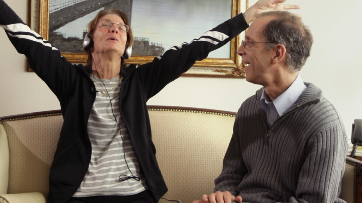 A scene from the new film Alive Inside ... Mary Lou Thompson and Music & Memory's Dan Cohen