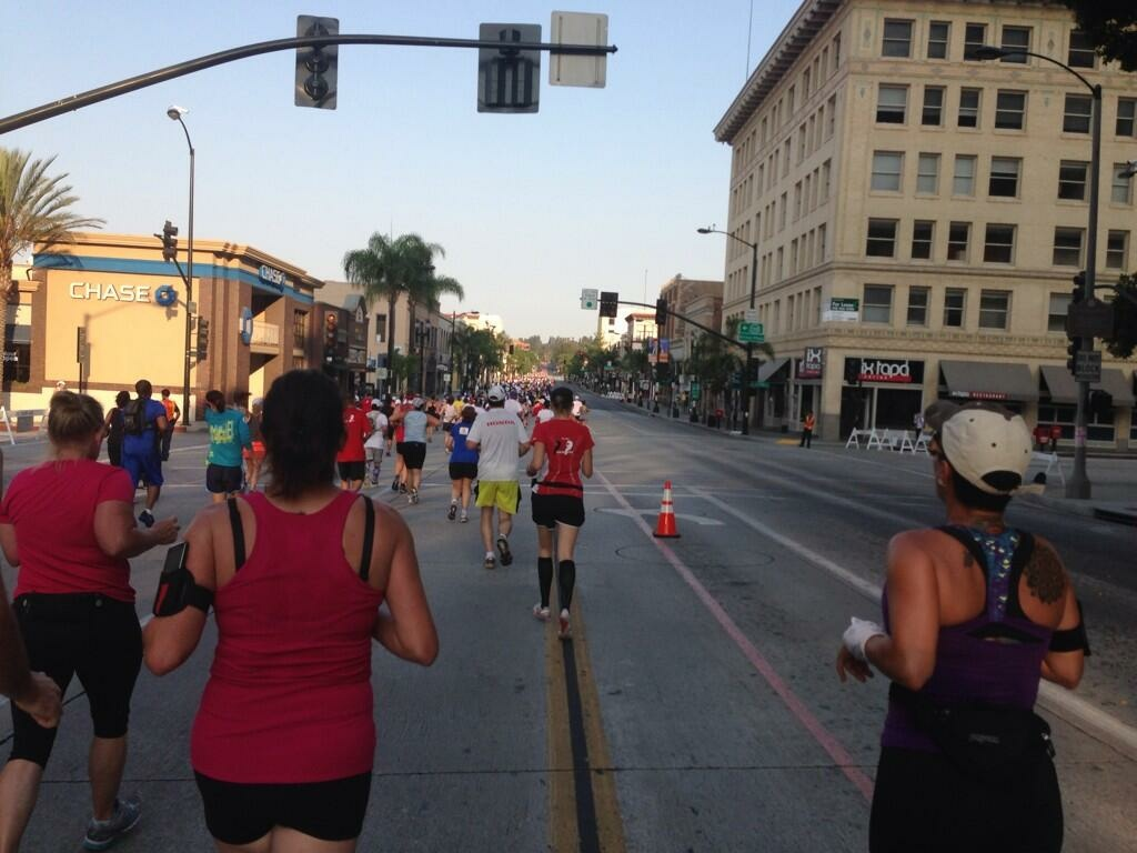 The Pasadena Half Marathon makes its way through Old Town, Sunday, June 30, 2013.