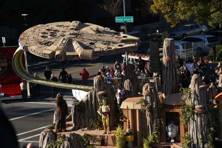 Star Wars characters and The Millennium Falcon are part of Disneyland Resort's Diamond Celebration float celebrating the park's 60th anniversary, in the 127th Rose Parade in Pasadena on Jan. 1, 2016.