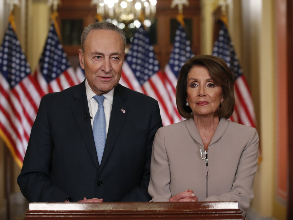 House Speaker Nancy Pelosi, D-Calif., and Senate Minority Leader Chuck Schumer, D-N.Y., speak on Capitol Hill in response President Trump's prime-time address on border security on Tuesday.