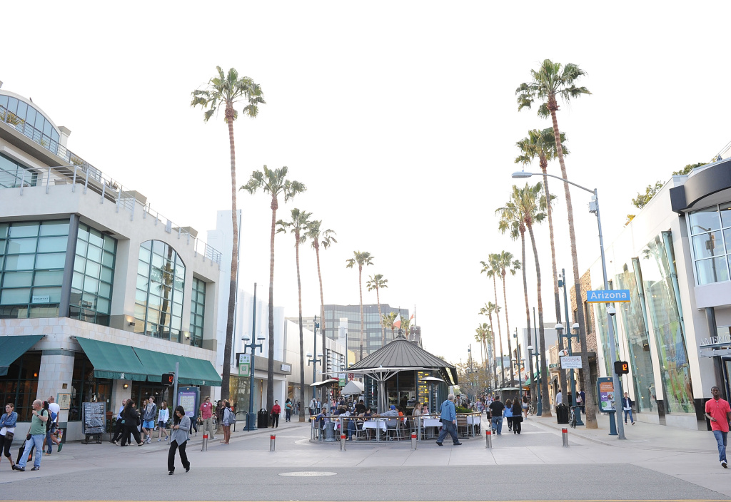 SANTA MONICA, CA:   A view of Third Street Promenade where the Santa Monica Farmer's Market is held.