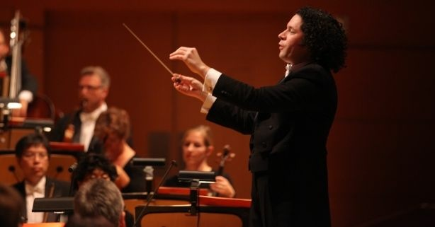 Gustavo Dudamel conducting the LA Philharmonic at home at Disney Hall.
