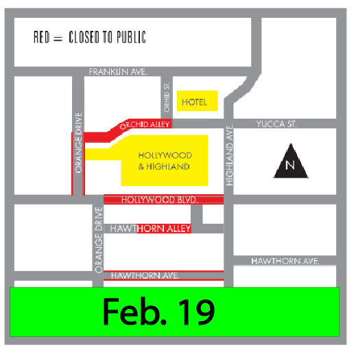 Areas marked in red will be shut down from from 6 p.m. Feb. 19 to 6 a.m. March 1.