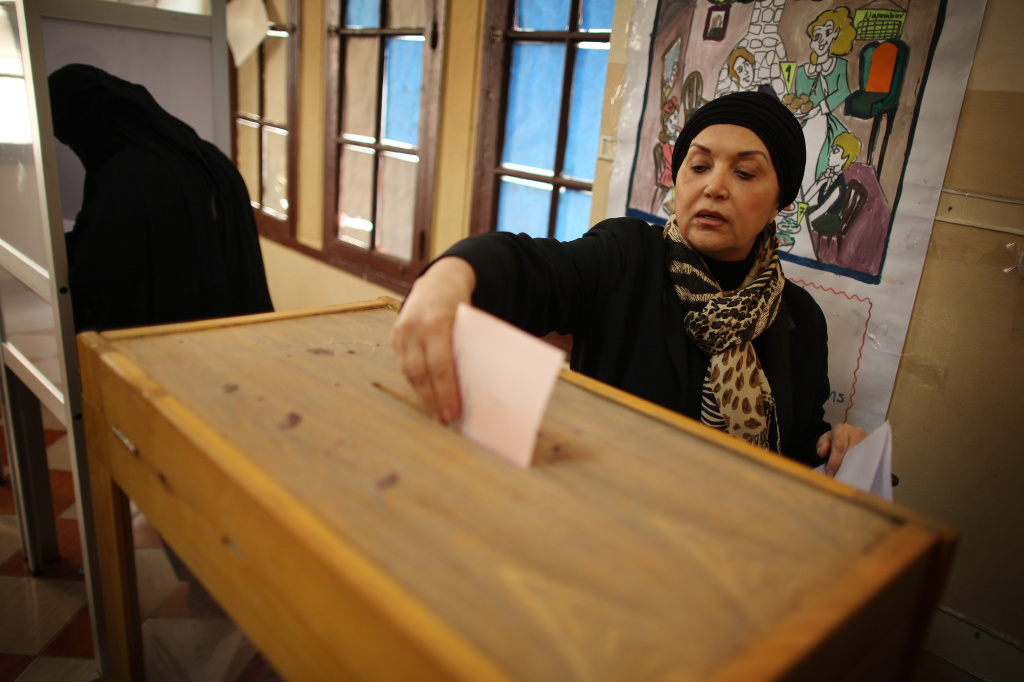Two Egyptian women voting for parliament last November.