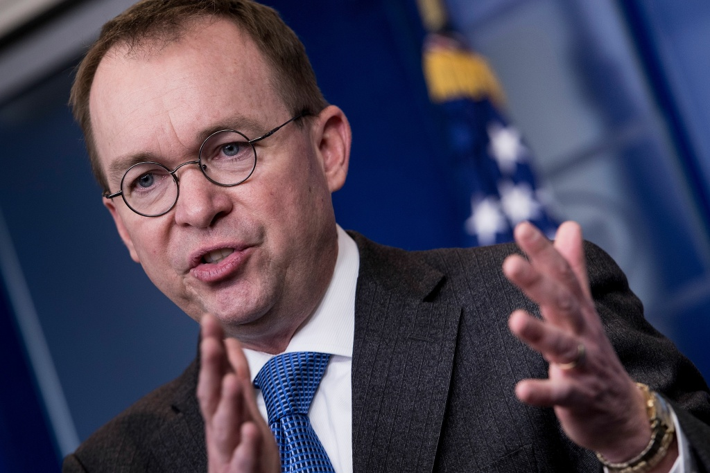 White House budget director Mick Mulvaney discusses the possible government shutdown on January 19, 2018 during a press briefing at the White House in Washington, DC.