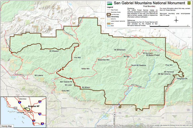 A map from the U.S. Forest Service shows the boundaries of the newly designated San Gabriel Mountains National Monument.