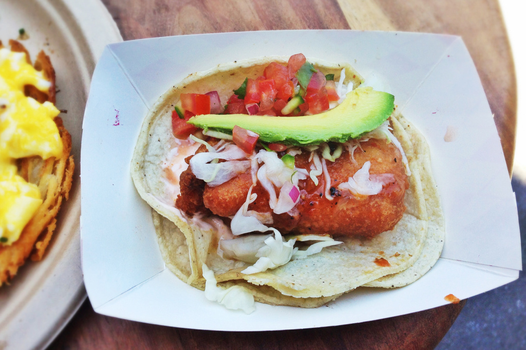Take a bite — or or maybe don't — of this beer-battered mako shark taco with cabbage, pico de gallo, avocado, arbol chile and cream from Guerilla Tacos in Los Angeles.