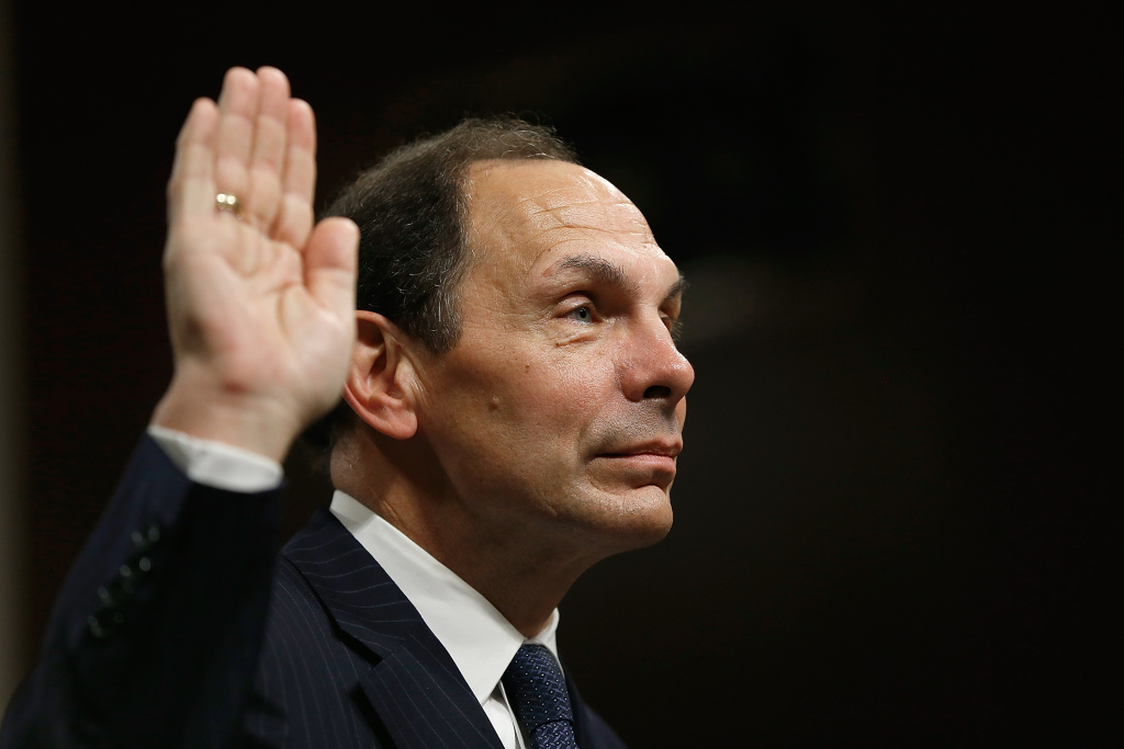 Robert McDonald, President Obama's nominee to be the Secretary of Veterans Affairs, is sworn in prior to testifying before the Senate Veterans Affairs Committee July 22, 2014 in Washington, DC.