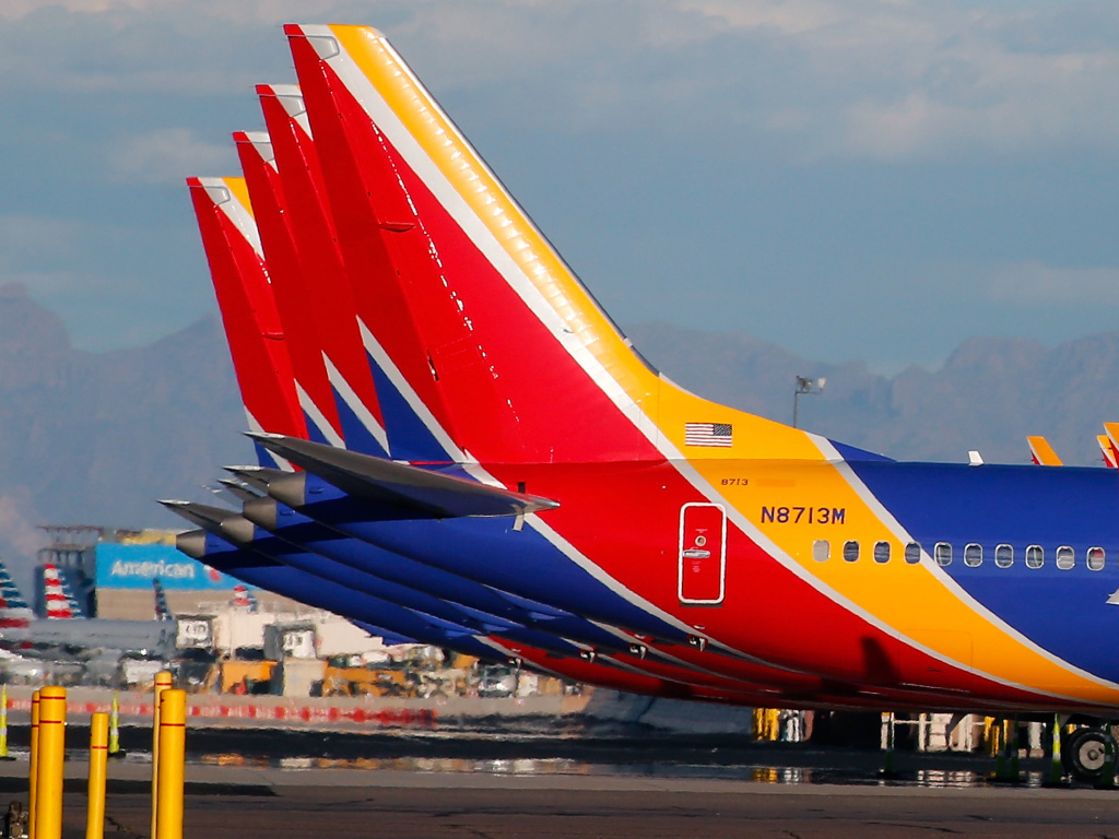A group of Southwest Airlines Boeing 737 Max aircraft sit on the tarmac at Phoenix Sky Harbor International Airport on March 13. The 737 Max has been grounded worldwide following a pair of deadly crashes.